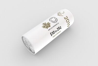 Канада. Елизавета II. 2020. 25 центов - ролл из 40 монет. Карибу. Логотип RCM. Fe-Ni 4.430 g. UNC. (СПЕЦИАЛЬНАЯ УПАКОВКА от RCM).