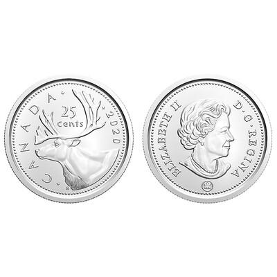 Канада. Елизавета II. 2020. 25 центов. Карибу. Тип: Никель 4.430 g., KM#184 AU