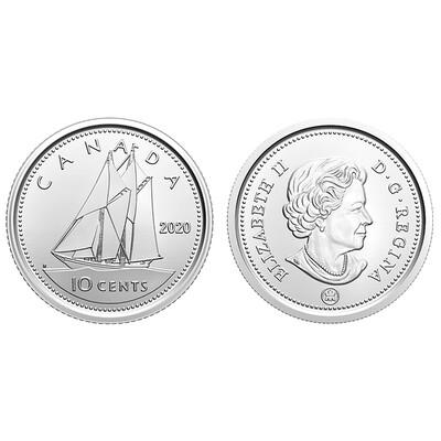 Канада. Елизавета II. 2020. 10 центов - ролл из 50 монет. Серия: Специальный чекан - первая партия. Парусник. Тип: 1979. Никель 2.07 g. UNC