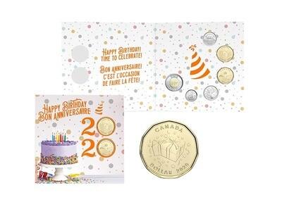 Канада. Елизавета II. 2020. 25 центов. Набор монет. Серия: Подарок на День Рождения! #16. KM# UNC. В подарочной упаковке.