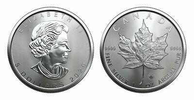 Канада. Елизавета II. 2020. 5 долларов. Кленовый лист. 0.9999 Серебро 1.0 Oz., ASW., 31.1 g., BU. UNC