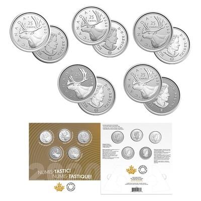 Канада. Елизавета II. 2020. 25 центов. Набор из 5 монет по 25¢. Серия: нумизматический тест набор. #01. UNC. В подарочной упаковке.