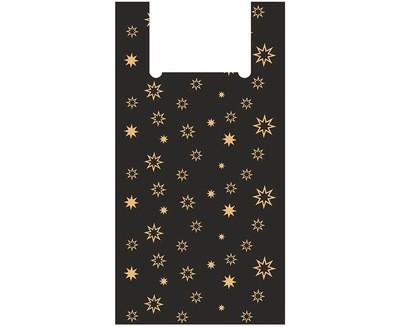 Пакет майка Суперпак Звезды черный 32х60см 100шт