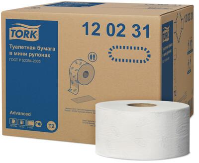 Туалетная бумага в мини рулонах TORK (Торк) Advanced T2 2х слойная 170 метров