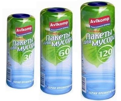 Пакеты для мусора Avikomp (Авикомп) серия премиум в рулоне 30л*20шт, 60л*20шт или 120л*10шт