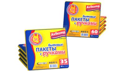 Бытовые пакеты с ручками Avikomp (Авикомп) 35л*25шт или 60л*25шт