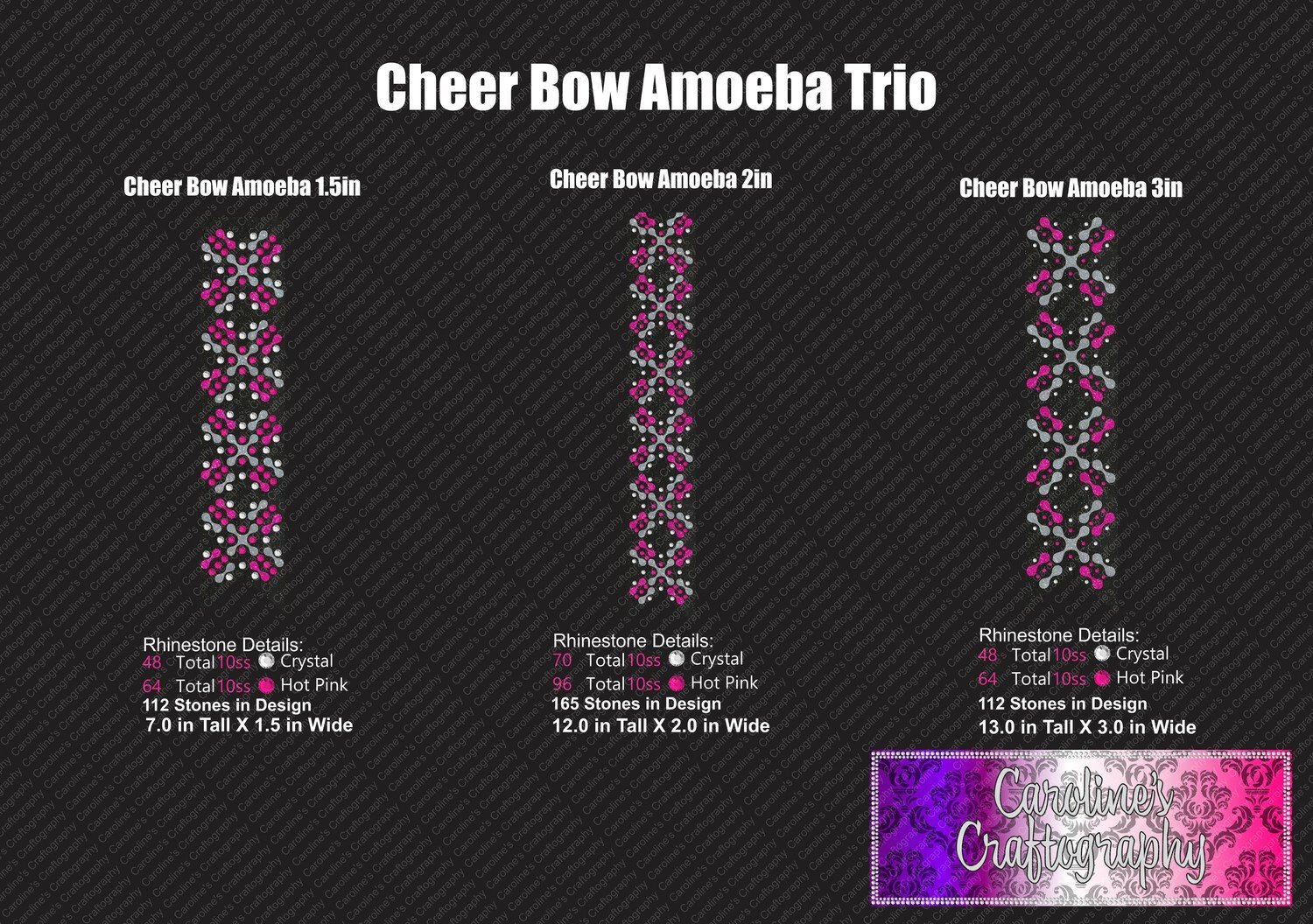 Ameoba Stone Vinyl Trio Cheer Bow
