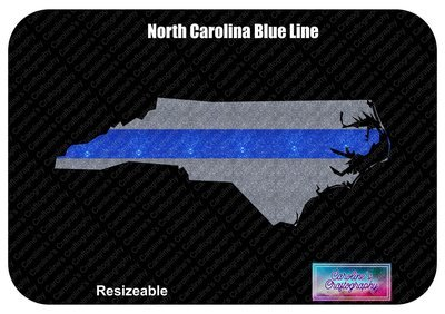 North Carolina State Blue - Red Line Vinyl