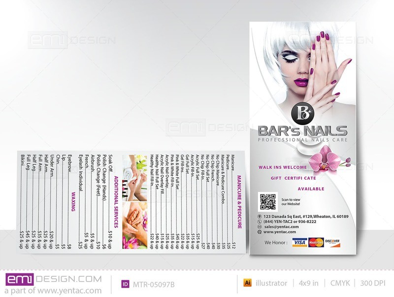 04.2 - Menu Take Out - Rack Card - Size 4x9 - Template MTR-05097B