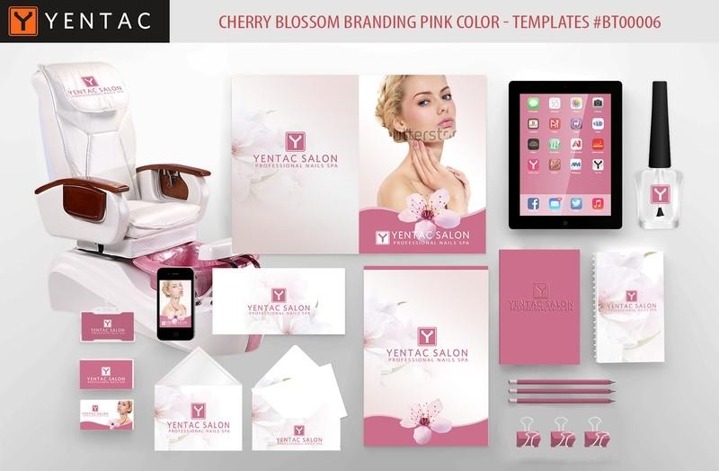 Cherry Blossom Branding  Pink Color - Stationary Mockup - YENTAC Nail Salon Templates:  BT000006