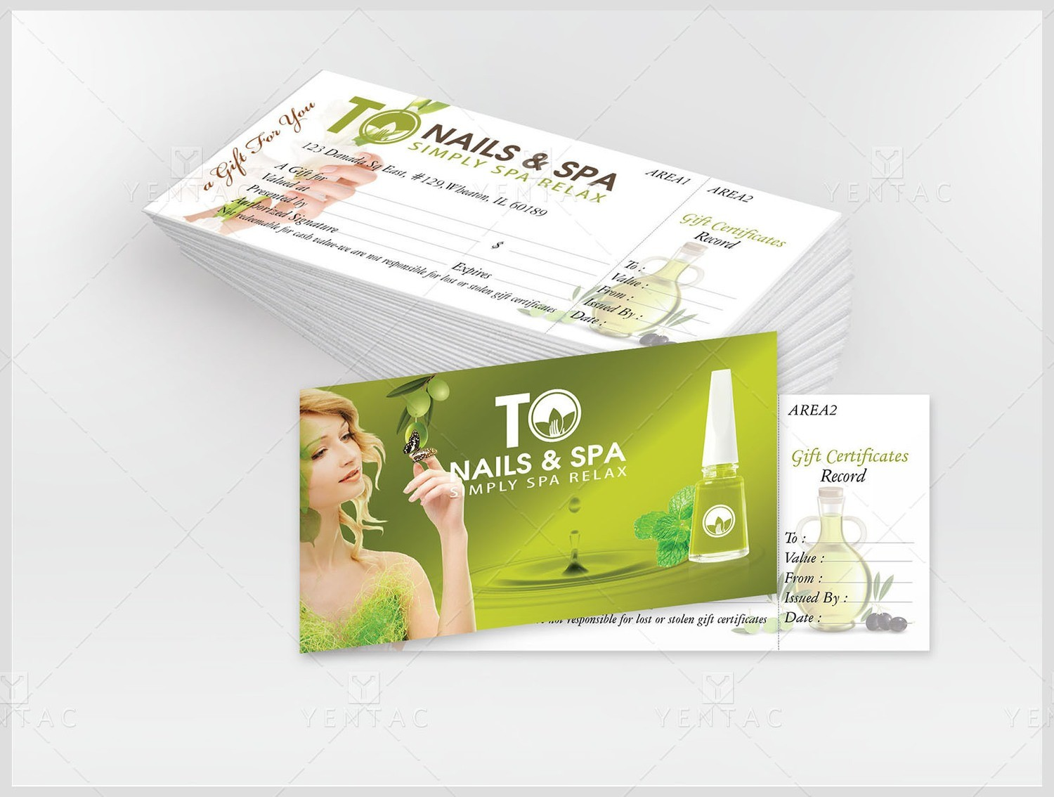 11 - Gift Certificate Deluxe Custom Design  & Printing - TO Brand Franchise  3011 Size 8.5x3.5 Inches