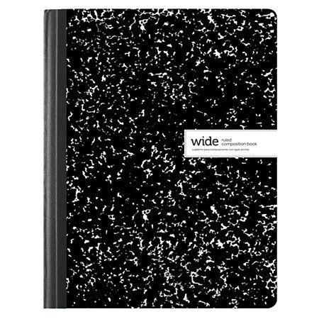"""Office Depot Brand Composition Book, 7 1/2"""" x 9 3/4"""", Wide Ruled, 100 Sheets, Assorted Black/White Designs (No Design Choice)"""