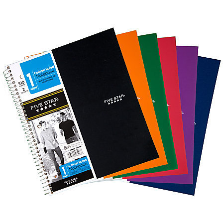 "Five Star Notebook With 2 Pockets, 8 1/2"" x 11"", 1 Subject, College Ruled, 100 Sheets, Assorted Colors (No Color Choice)"