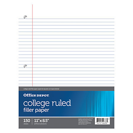 """Office Depot Brand Notebook Filler Paper, College-Ruled, 8 1/2"""" x 11"""", 3-Hole Punched, White, Pack Of 150"""