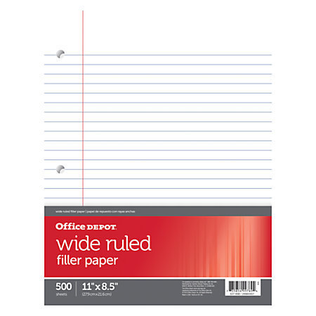 "Office Depot Brand Ruled Filler Paper, 3-Hole Punched, 16-Lb, Wide Ruled With Margin, 11"" x 8 1/2"", Ream Of 500 Sheets"