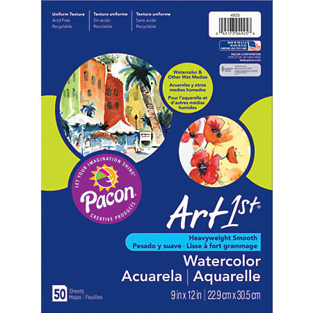 """Art1st Watercolor Paper, 9"""" x 11"""", Pack Of 50 Sheets"""