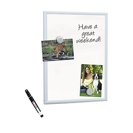 "FORAY Mini Magnetic Dry-Erase Board With Aluminum Frame, 11"" x 14"", White Board, Silver Frame"