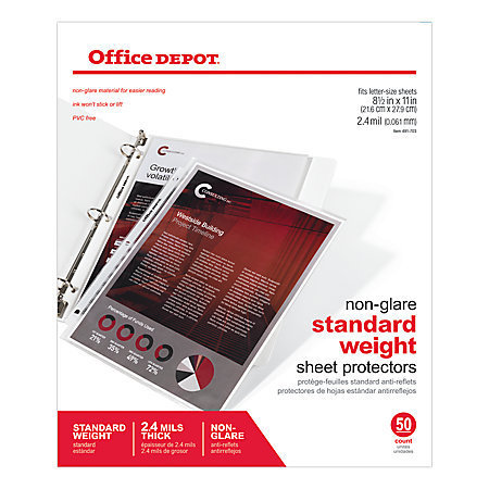 "Office Depot Brand Non-Glare Standard Weight Sheet Protectors, 8 1/2"" x 11"", Box Of 50"