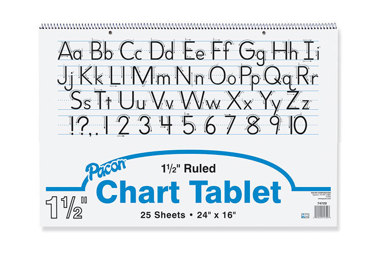 """Pacon Chart Tablet, 24"""" x 16"""", 1 1/2"""" Ruled, 25 Sheets"""