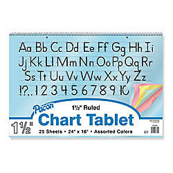 "Pacon Color Paper Chart Tablet, 24"" x 16"", 1 1/2"" Rule, Assorted"