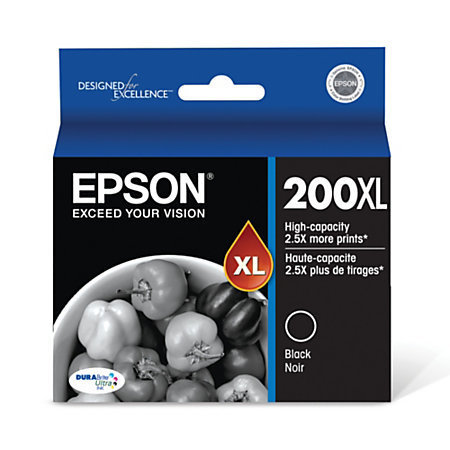 Epson® 200XL, (T200XL120-S) DuraBrite® Ultra High-Yield Black Ink Cartridge