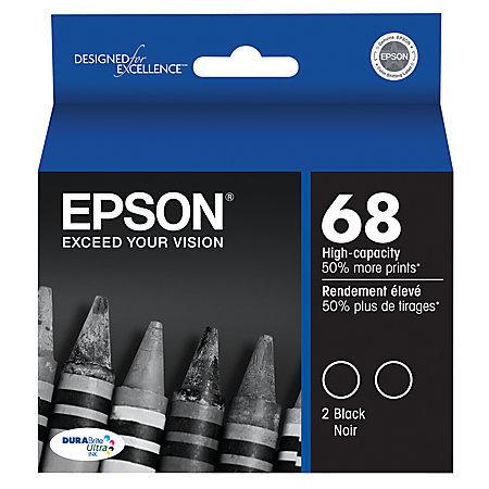 Epson 68, (T068120-D2) DuraBrite High-Capacity Black Ink Cartridges, Pack Of 2