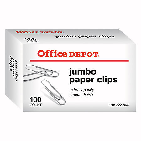 Office Depot Brand Paper Clips, Jumbo, Silver, Box Of 100 Clips