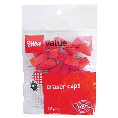 Office Depot Brand Eraser Caps, Red, Pack Of 12