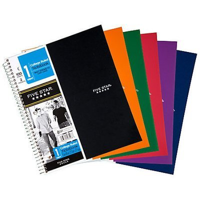 Five Star Notebook With 2 Pockets, 8 1/2