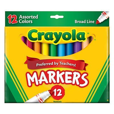 Crayola® Broad Line Markers, Assorted Classic And Bright Colors, Box Of 12