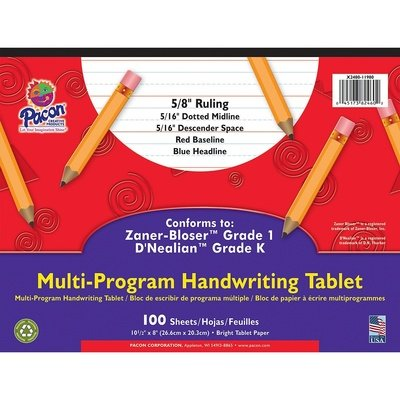 Pacon® Zaner Bloser 1st Grade/D'Nealian Kindergarten Handwriting Paper, 10 1/2