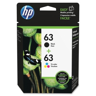 HP 63 Black/Tricolor Ink Cartridges (Use for Envy Printer)