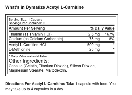 Dymatize Acetyl- Lcarnitine 90 ct.