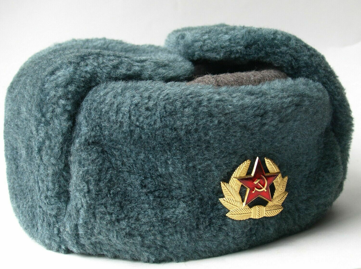 Authentic Soviet ushanka, Russian fur hat + Badge, USSR army soldier winter caps