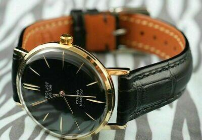 ULTRA slim Russian watch POLJOT De Luxe! Mechanical movement Classic mens style!