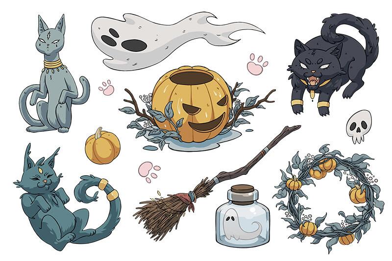 "Стикерпак (набор наклеек) ""Хэллоуин 1"""