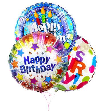 Ramo de 3 Globos Metalicos Happy Birthday