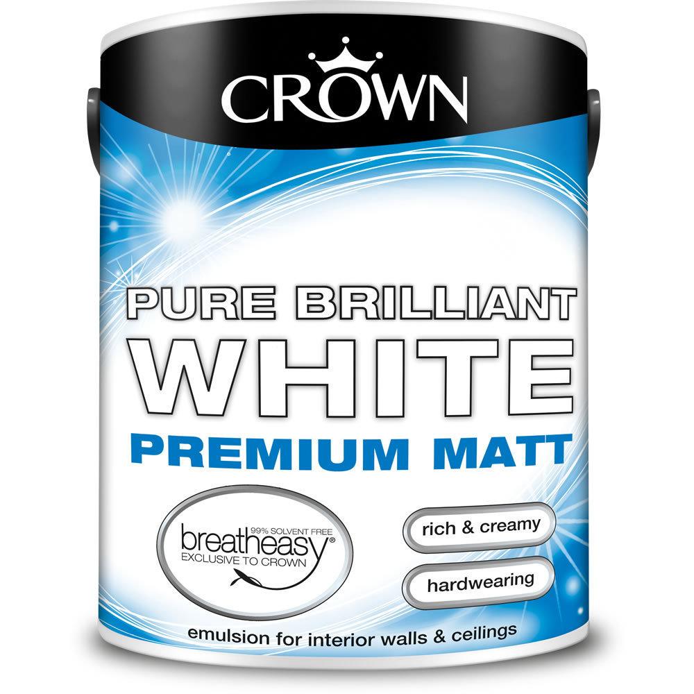 Crown Premium Matt Emulsion Paint Pure Brilliant White
