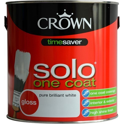 Crown Solo One Coat Gloss Brilliant White Paint