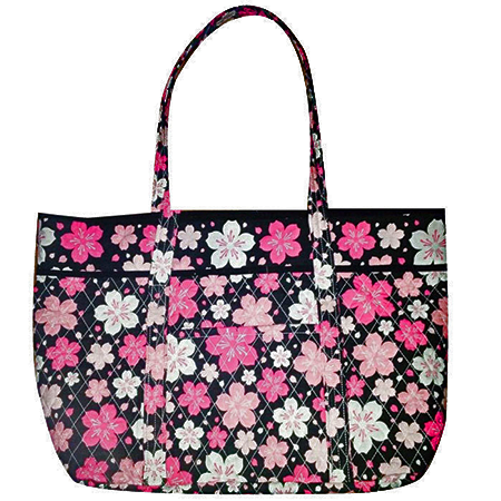 Cherry Blossom Festival Quilted Tote Bag