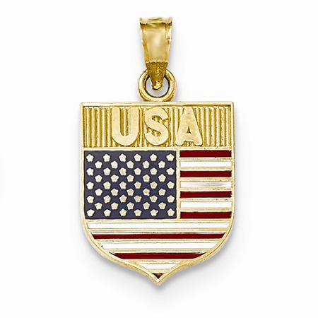 14k USA Flag Enameled Pendant
