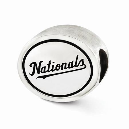 Sterling Silver Antiqued Washington Nationals MLB Bead
