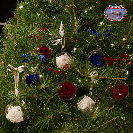 Red White and Blue Real Rose Six Flower Ornament Set