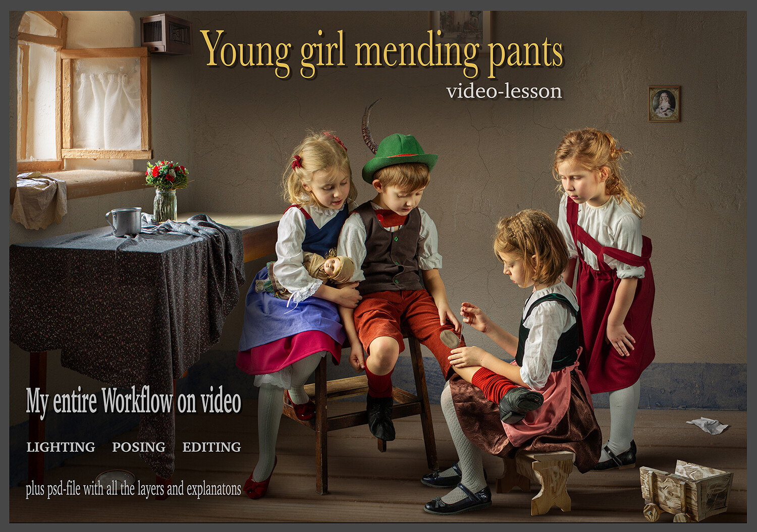 """Video lesson """"Young Girl mending pants"""""""
