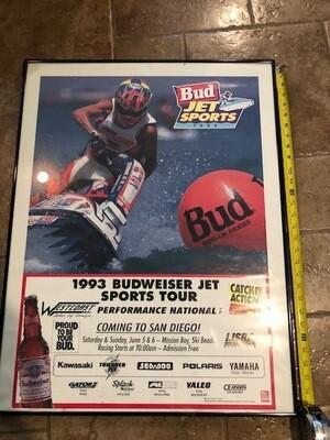 Original 1993 Budweiser Jet Sports Tour jet ski Poster