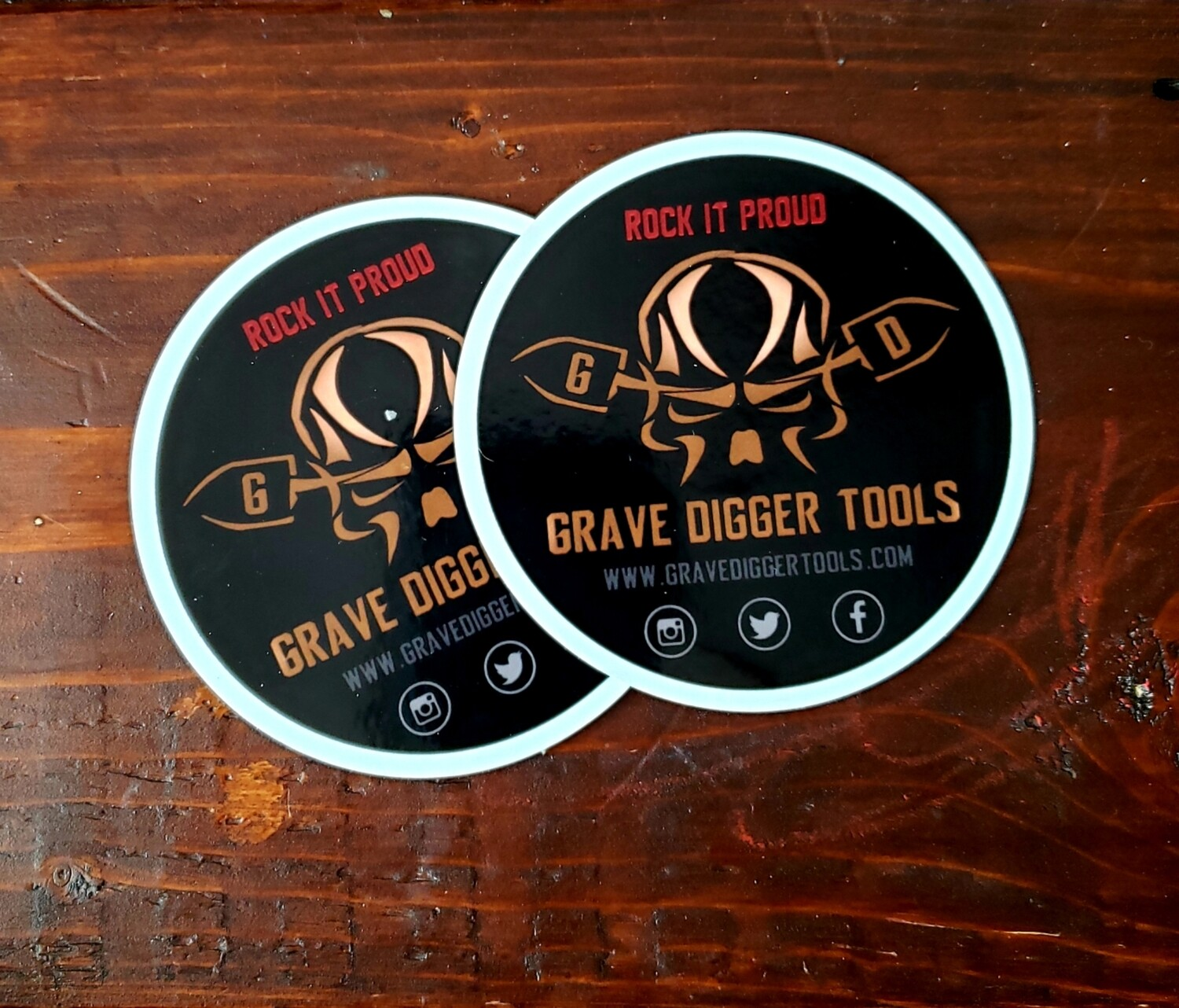 2 - 3x3 Grave Digger Tools Static Window Clings
