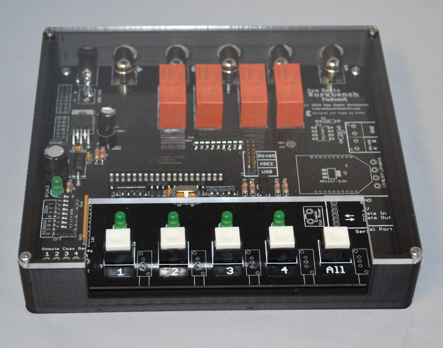 Ham Radio Workbench 4-Port Coax Relay Case