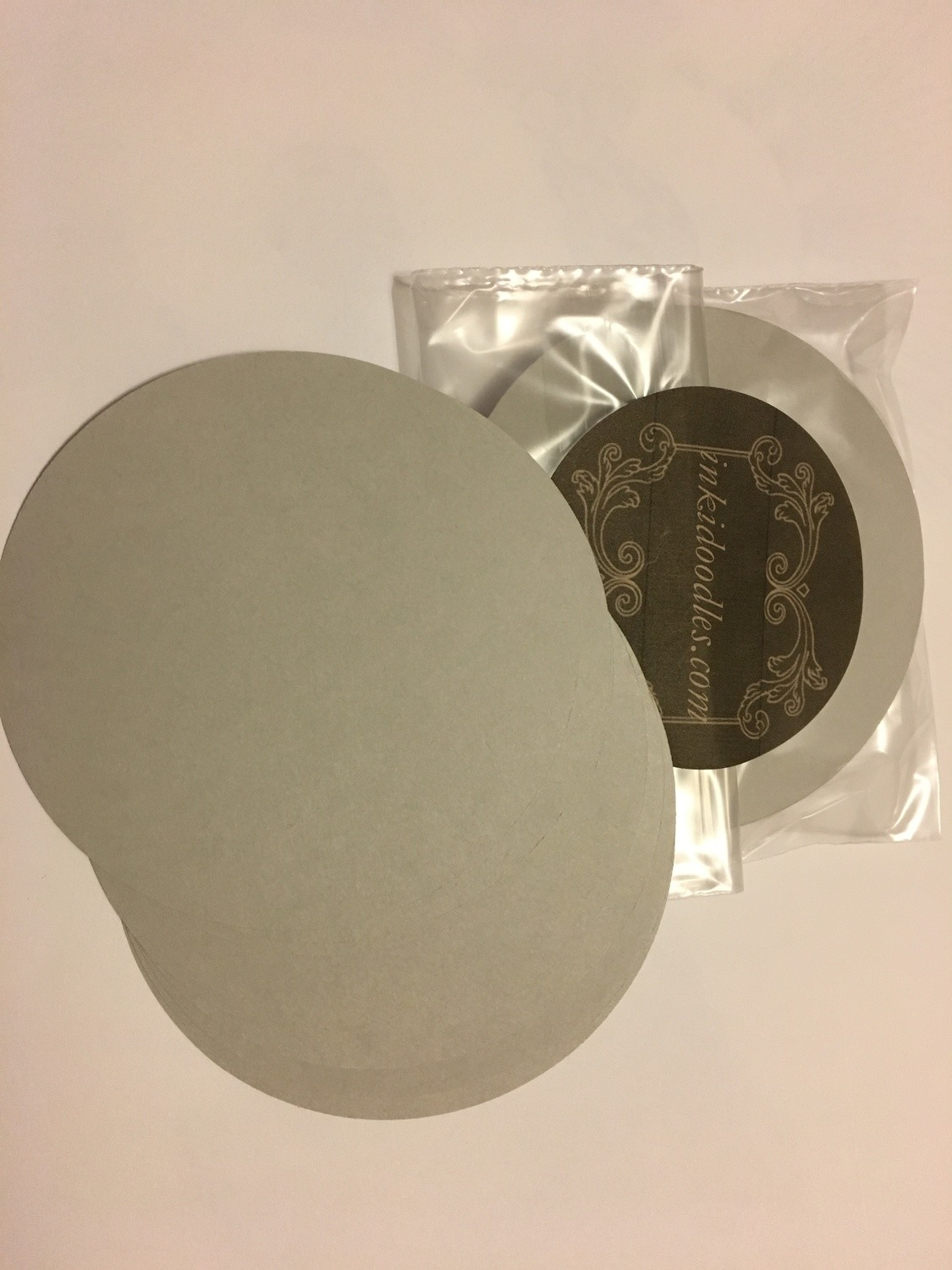 """30- 3 1/2"""" round Gray tiles 65# smooth finish paper"""