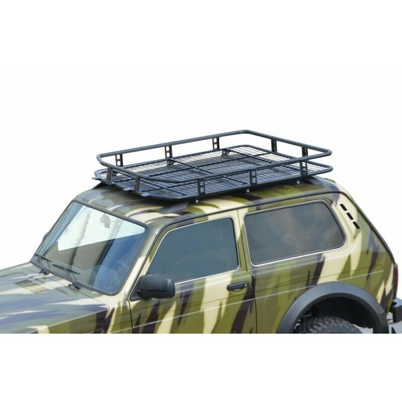 Багажник «ТРОФИ» с сеткой (монтаж на рейлинги) 4х4 «Нива» БРОНТО
