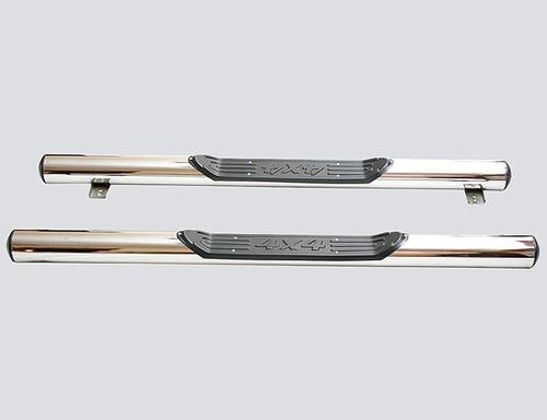 Пороги «Труба с проступью», Диаметр трубы 76мм, нержавейка, 2131 (комплект)